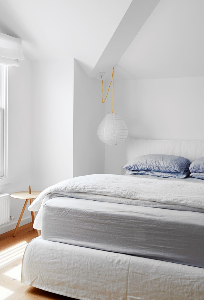 In the children's bedroom is a 'Piumotto' bed from Meizai with bed linen from Sheridan and Bedouin Societe. Woud 'Come Here' side table from Floc. Paris au Mois d'Août pendant light from Hub.