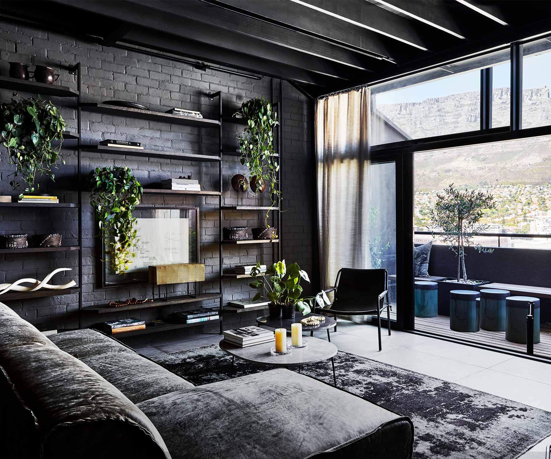 An industrial-style apartment with a monochrome palette