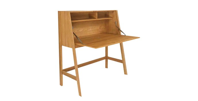 "Clarke oak and MDF desk (110x55cm), $599, [Freedom](https://www.freedom.com.au/bedroom/shop-new-season-looks/savannah-bed-shop-the-look/23688155/clarke-110x55cm-desk?reflist=storage/home-office|target=""_blank""
