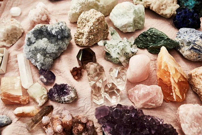 Rachel's impressive collection of crystals.