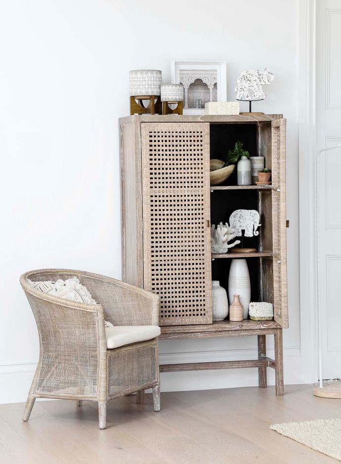 "A decorative cabinet offers myriad storage opportunities – think linens, platters, vases or even games. [Oz Design Furniture's 'Maya' cabinet](https://ozdesignfurniture.com.au/maya-cabinet-in-grey-wash|target=""_blank"") has three shelves and a display area up top."