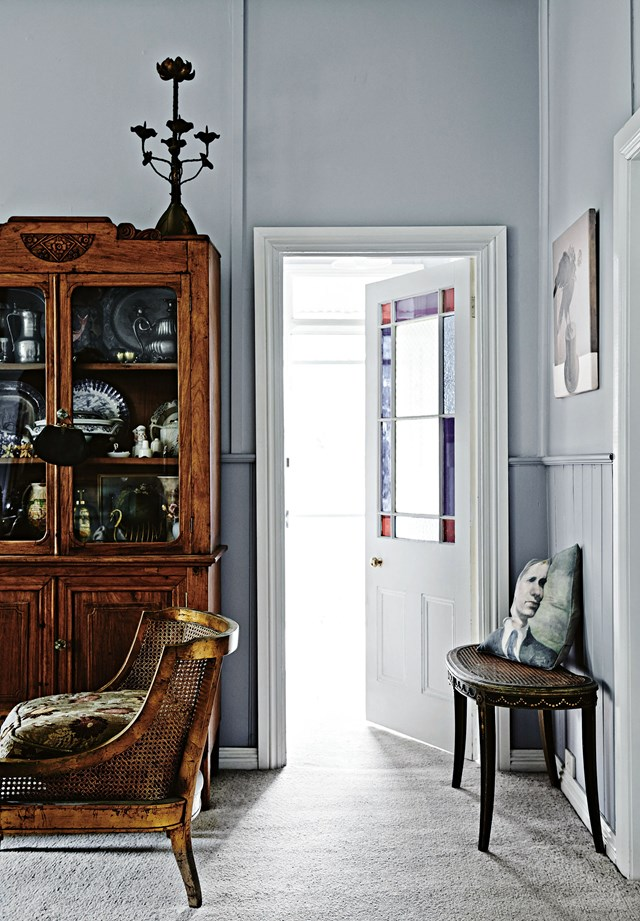 "A Daylesford cottage decorated in a [French provincial style](https://www.homestolove.com.au/french-provincial-cottage-12080|target=""_blank""). The sitting room furniture includes a 1920s gilt rattan chair."