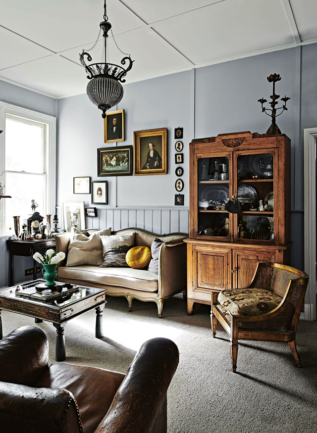 "European vintage and antique pieces are dotted around this [French provincial cottage](https://www.homestolove.com.au/french-provincial-cottage-12080|target=""_blank"") in Daylesford, VIC. The owner describes her collection of objects and artworks as ""a beautiful way of self-expression""."