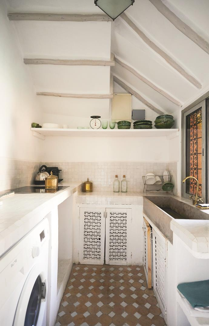 **Kitchen** The kitchen's simple design reflects traditional Moroccan aesthetics and embraces its time-worn imperfections.