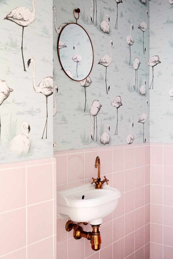 This powder room looks like it's been pulled straight out of a boutique hotel.