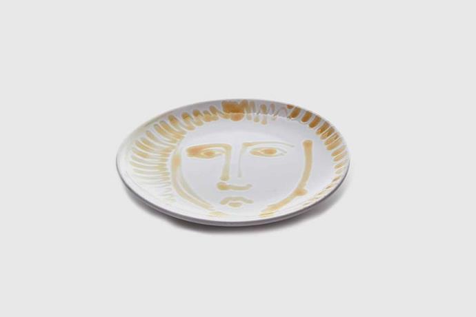"'Face' dinner plates in Mustard, $85 each, [Atelier](https://atelierstudios.com.au/|target=""_blank""|rel=""nofollow"")."