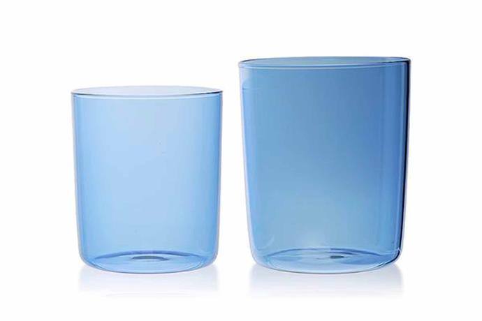 "'Gobelet' glasses in Azure, $69/set of 4, [Maison Balzac](https://www.maisonbalzac.com/|target=""_blank""|rel=""nofollow"")."
