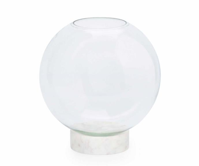 "Marble Basics 'Buddy' orb vase, $99.95, [The DEA Store](https://thedeastore.com/|target=""_blank""