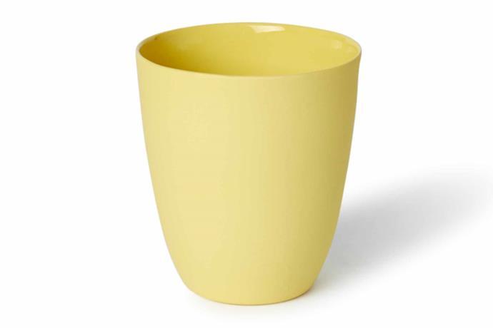 "'Beaker' cups in Milk and Yellow, $47 each, [Mud Australia](https://mudaustralia.com/|target=""_blank""|rel=""nofollow"")."