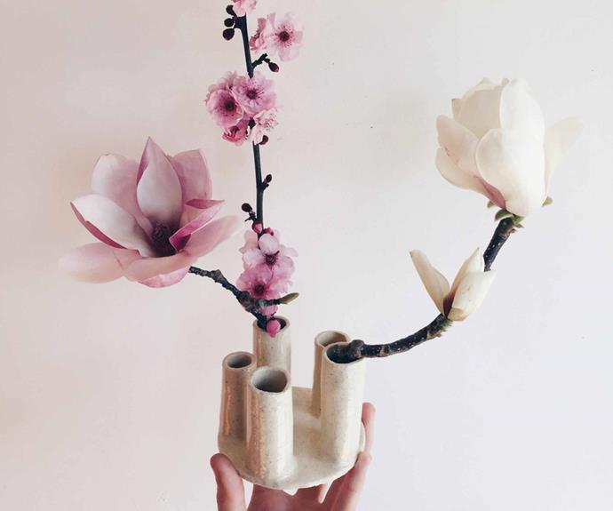 "'Ikebana' four-neck vase, $200, [Tara Burke Ceramics](https://taraburkeceramics.com/|target=""_blank""|rel=""nofollow"")."