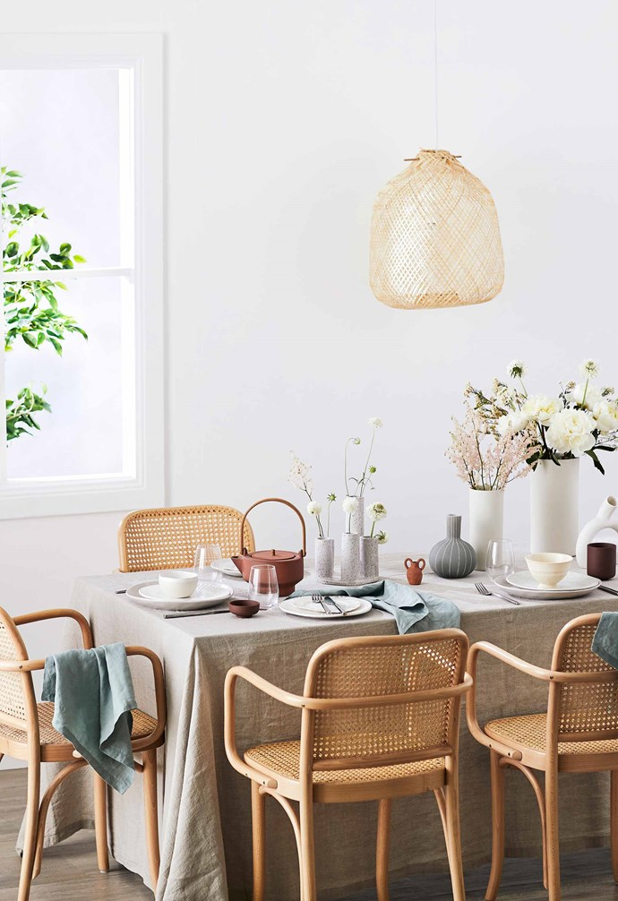 **Organic eating** Natural shades invite the outdoors in, and a smorgasbord of textures adds flavour to the design 'palate'. *Styling: Natalie Johnson | Photography: Nic Gossage*.