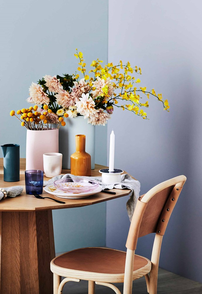 **Tinted love** We're sure your planned menu will look as good as it tastes – but if it doesn't, mix and match shades to dish up colour at every turn. *Styling: Natalie Johnson | Photography: Nic Gossage*.