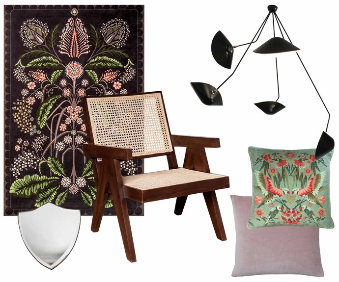 """**Get the look** (clockwise from left) House of Heras 'Wattle Delight' rug (2m x 3m), $5460, [Designer Rugs](https://www.designerrugs.com.au/