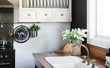 A grand brick farmhouse with European inspired style