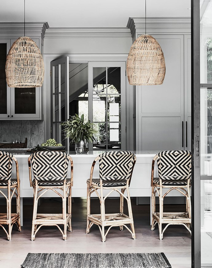 It was a two-year wait to have to have the kitchen installed but well worth it. It was designed in the classic 'Plain English' style Andrea favoured from her time living in London. Rug, Armadillo & Co. Havana bar stools, $699 each, Naturally Cane.