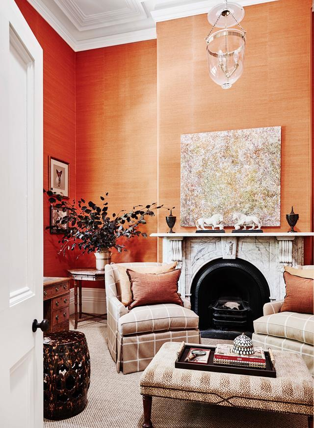 "When interior designer Adelaide Bragg and her husband Tim [purchased the home](https://www.homestolove.com.au/adelaide-braggs-restored-victorian-home-19113|target=""_blank"") in 2007, the walls were covered in wallpaper featuring a forest and bird motif. Now, the formal living room is bursting with colour and texture. *Photograph*: Lisa Cohen. From *Belle* October 2018."