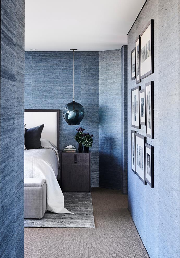 Poco Designs' Poppy and Charlotte O'Neil swathed this calming master bedroom in Phillip Jeffries wallpaper. *Photograph*: Anson Smart. From *Belle* February/March 2019.