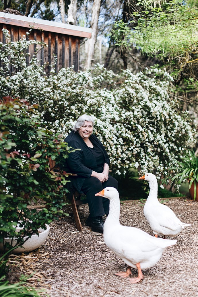 Jenny with her geese.