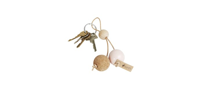 "By Wirth 'Key Sphere' cork, leather and wood keychain in Nature Oak and Peach, $45, [Nordic Rooms](https://www.nordicrooms.com.au/key-sphere-peach|target=""_blank""