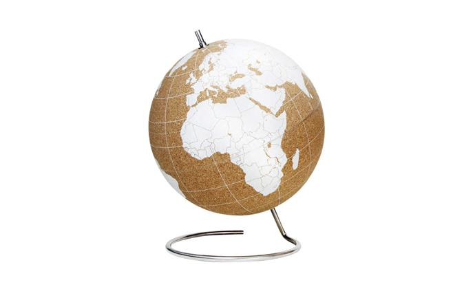 "Suck UK cork and stainless-steel globe in White, $225, [Until](http://www.until.com.au/suck-uk-cork-globe-white|target=""_blank""