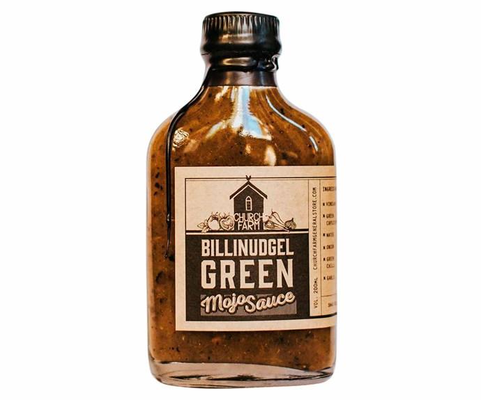 "'Billinudgel Green Mojo' sauce, $14/200ml, [Church Farm General Store](http://churchfarmgeneralstore.com/|target=""_blank""|rel=""nofollow"")."