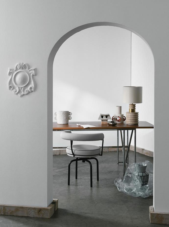 Plaster embellishment, POA, from Anibou. Vase, POA, from Tamsin Johnson, Cassina 'LC7' chair, $4955, from Space. Natalie Rosin *McCraith House* sculpture, $395, from Jardan. India Mahdavi 'Smoking/No Smoking' ashtray, $600, from ALM. BZippy & Co large pink rope vase in Cream, $950, from Jardan. 1970 stone lamp, $3800, from Conley & Co. 'Atlanta II' vase, $145, from Coco Republic.