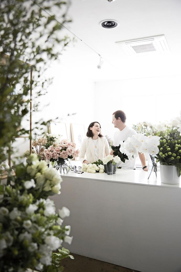 """Georgia and Kieran from MyFlowerMan typically start their work day at 4.30am when they set out for the flower market. """"Unless we have an early job, we then head back home to take our dog for a walk before going into the studio at 8am."""" Georgia says."""