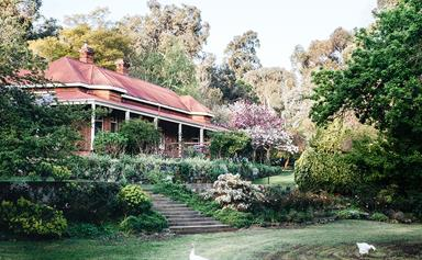 Inside the established gardens of Ford House in Bridgetown, WA