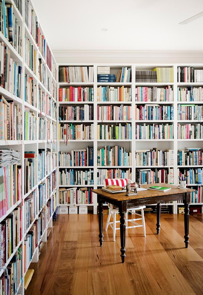 More than 2000 of former Australian House & Garden food editor Loukie Werle's books have found a second home on the handmade shelves in her home. *Photograph*: Chris Warnes