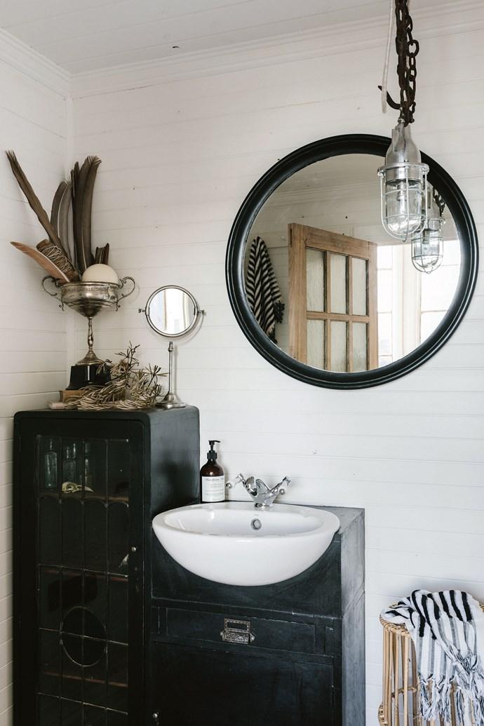 Sarah made the bathroom basin from an antique desk.