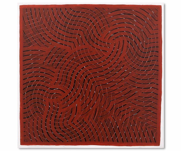 *Gaagal - Red*, acrylic on canvas, Otis Carey.