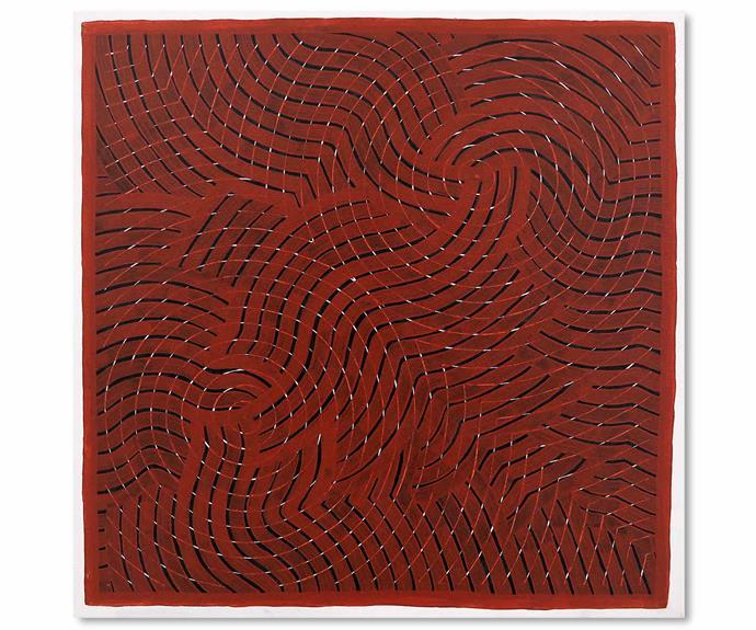 *Gaagal - Red*, acrylic on canvas, Otis Carey.