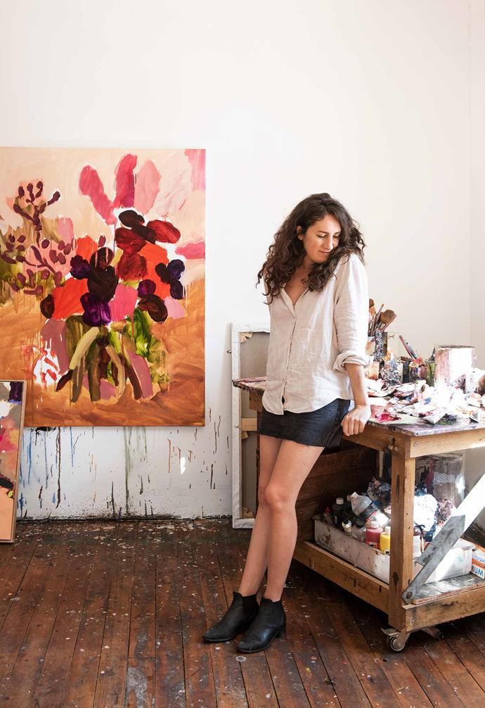 Laura pictured in her art studio. *Photography: Carine Thevenau*