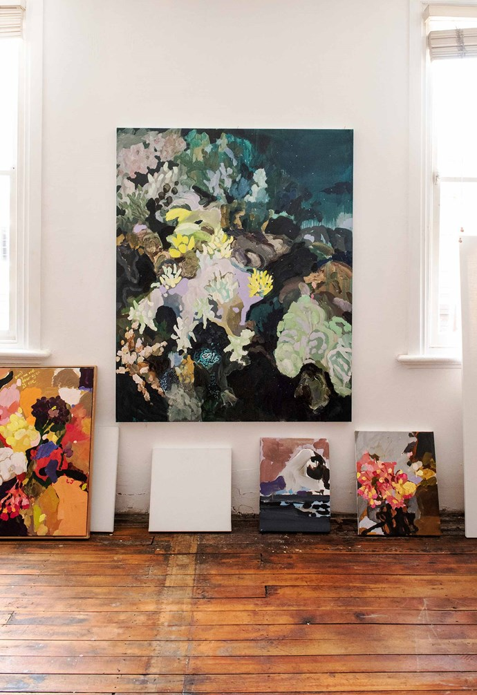 "*Soft Stars and Crystal Caterpillars*, 2018, oil on linen, and other works in progress, Laura Jones. *Photography: Carine Thevenau, courtesy of Laura and [Sophie Gannon Gallery](https://sophiegannongallery.com.au/|target=""_blank""