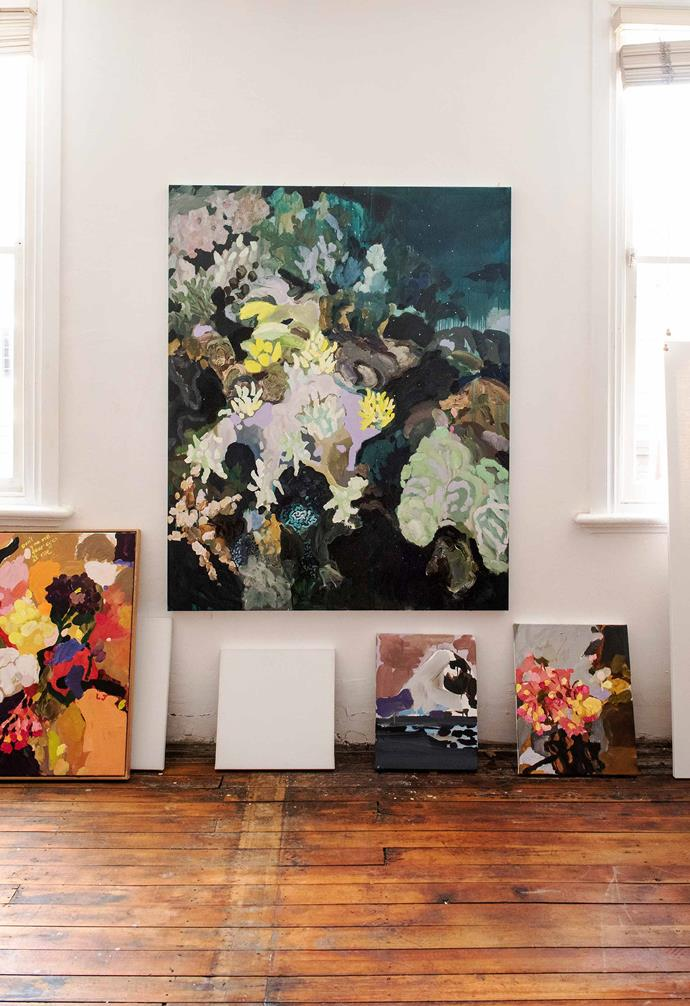 """*Soft Stars and Crystal Caterpillars*, 2018, oil on linen, and other works in progress, Laura Jones. *Photography: Carine Thevenau, courtesy of Laura and [Sophie Gannon Gallery](https://sophiegannongallery.com.au/