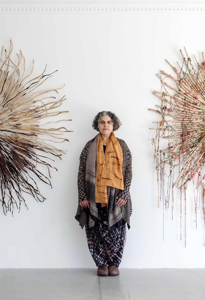 Tracey pictured at her Under the Sea exhibition at Saint Cloche Gallery, Sydney. *Photography: Nicholas Watt*.