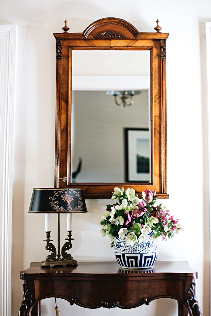 The home is filled with antique furniture, and other unique finds.