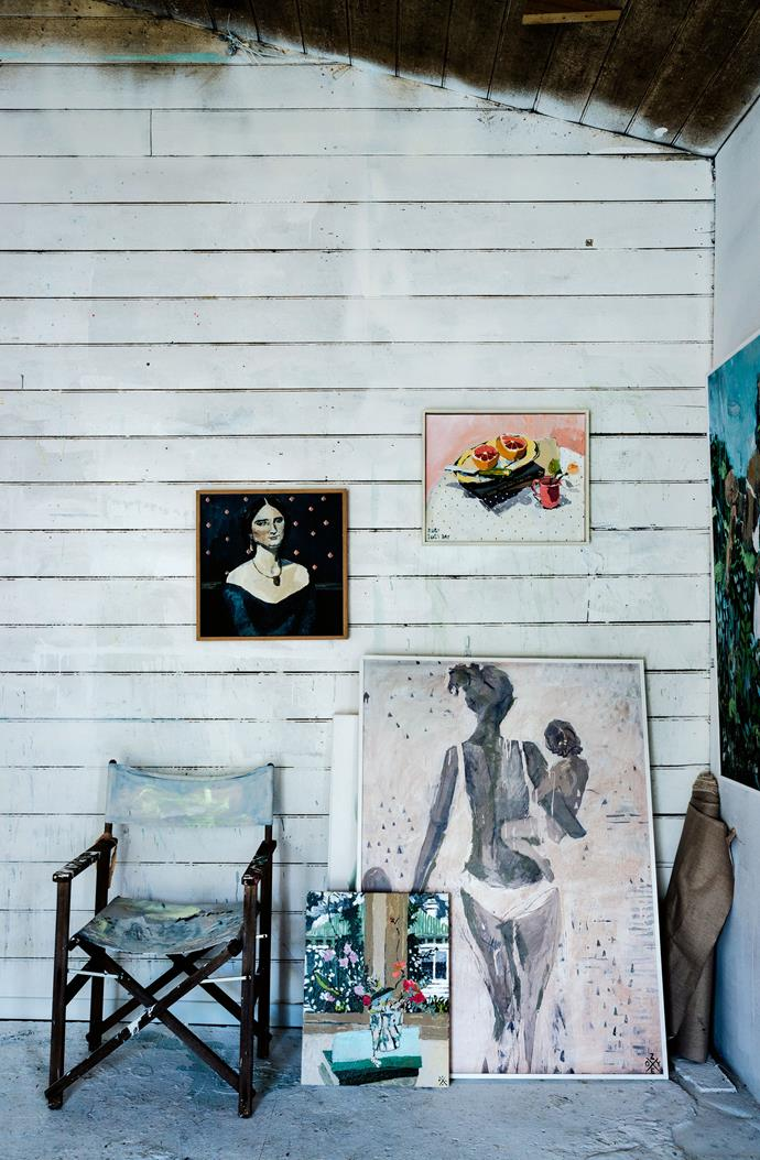 "Works, from left, Georgia, Frensham, Seaside and Ruby Tuesday. Collecting also plays a role in the 38-year-old's art: objects inherited or collected on her travels are dotted around the barn's [white interior](https://www.homestolove.com.au/how-to-work-with-a-white-interior-5046|target=""_blank"") and a striking etching of an Indigenous woman by the late Dungog-born artist Benjamin Minns hangs on the wall."