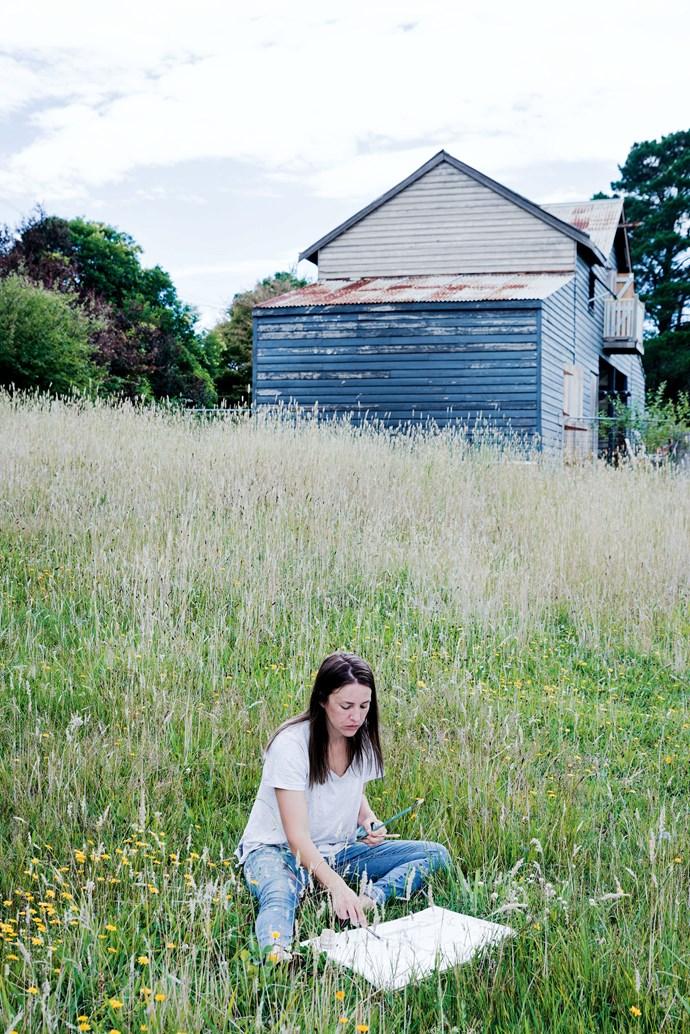 Zoe seeking inspiration in the outdoors beyond the studio.