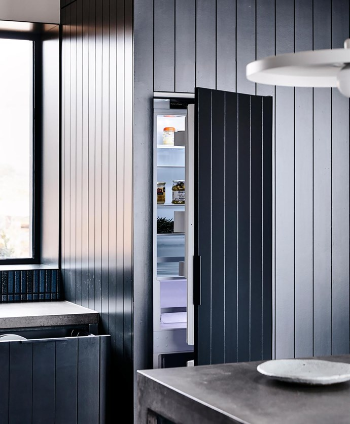 This image from Fisher & Paykel shows how integrated appliances – here, the Column fridge and DishDrawer dishwasher – can be fitted with custom panelling.