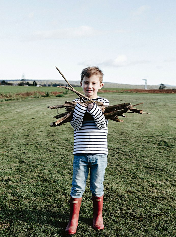 William collecting firewood.