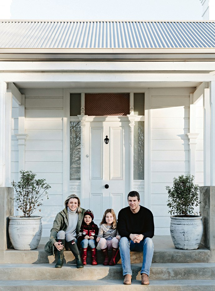 Lucy and Stewart Hosken with William and Amelia in front of Quamby Home, about 30 minutes' west of Launceston.