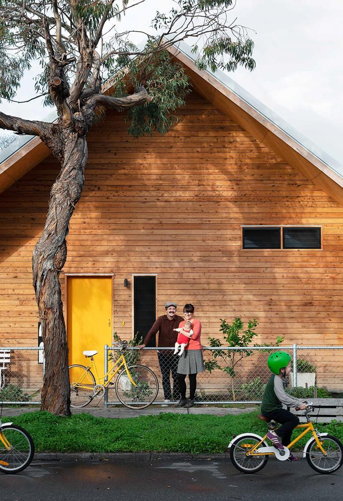 """**Exterior** The house is clad in Frencham rough-sawn Cypress. """"People call it the Gingerbread House or the Ski Cabin,"""" says James."""