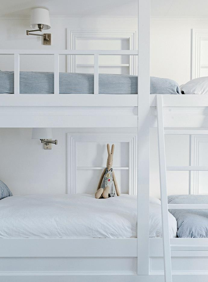 The children's bunk room was inspired by one Lucy saw on Pinterest and had custom-made.