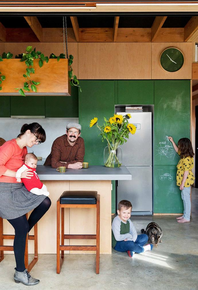 """**Kitchen** The cupboards were painted in [White Knight](https://www.whiteknightpaints.com.au/ target=""""_blank"""" rel=""""nofollow"""") 'Chalkboard Green' so Beatrice, Bjørn and eventually Elsie can get creative and use the space."""