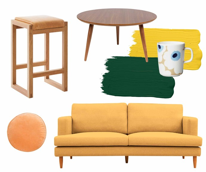 """**Mid-century musts** Mix sleek wooden pieces with muted colours to create a cosy cabin vibe. **Get the look** (clockwise from left) Loop stool, from $950, [Mark Tuckey](https://www.marktuckey.com.au/