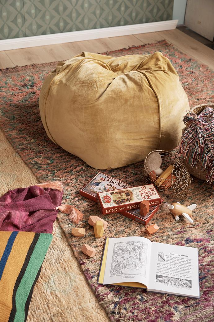 """This velvet beanbag and colourful rug could also be used in a teenagers bedroom. Burnished gold velvet beanbag, $139, [Kip & Co](https://kipandco.com.au/home/beanbags/burnished-gold-velvet-beanbag.html
