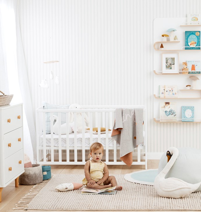 "**The Swan Princess**  <br><br> Once upon a time, nurseries were painted in bright hues of pink, blue or yellow. Here, a timeless, [neutral palette](https://www.homestolove.com.au/kyal-and-karas-gender-neutral-nursery-1-6738|target=""_blank"") creates peace and calm – the perfect remedy for sleepless nights."
