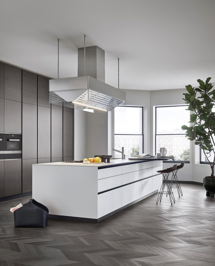 "Poliform's sleek, customisable 'Twelve' kitchen. ""Well-considered organisation maximises space – drawers have more capacity than cupboards and internal lighting is a game-changer,"" says Ong."