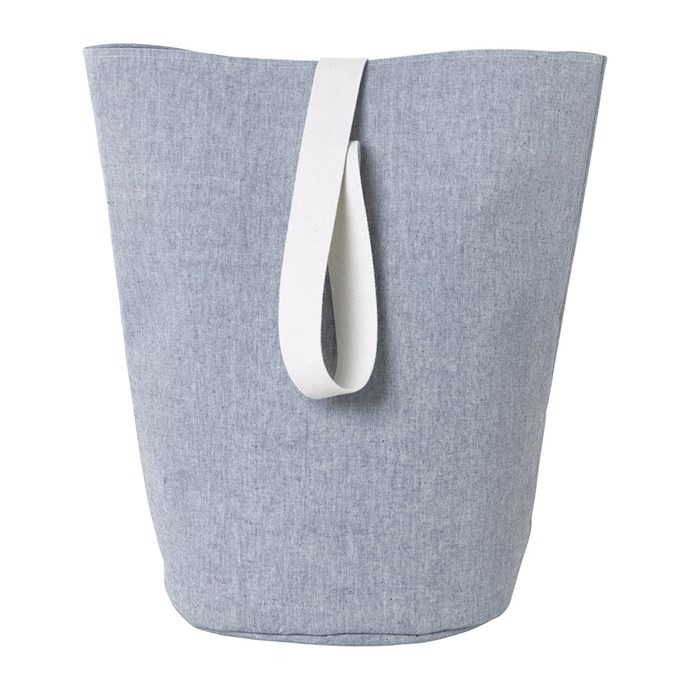 """Ferm Living Chambray basket in blue, $129, from [Amara](https://fave.co/2Igz3ps